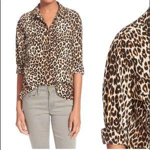 XS Equipment Slim Signature Silk Leopard Shirt